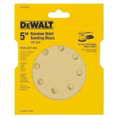 5 in. 8-Hole 220-Grit H and L Random Orbit Sandpaper (5-Pack)