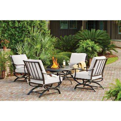 Redwood Valley Black 5-Piece Steel Outdoor Patio Fire Pit Seating Set with CushionGuard Chalk White Cushions