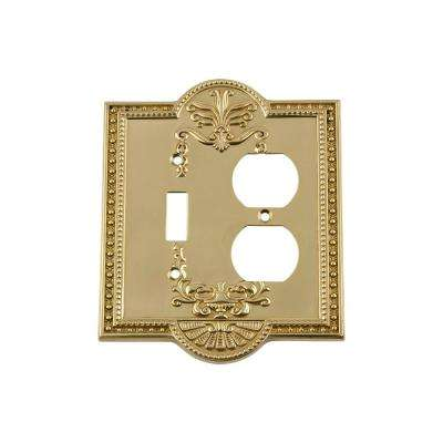 Meadows Switch Plate with Toggle and Outlet in Polished Brass