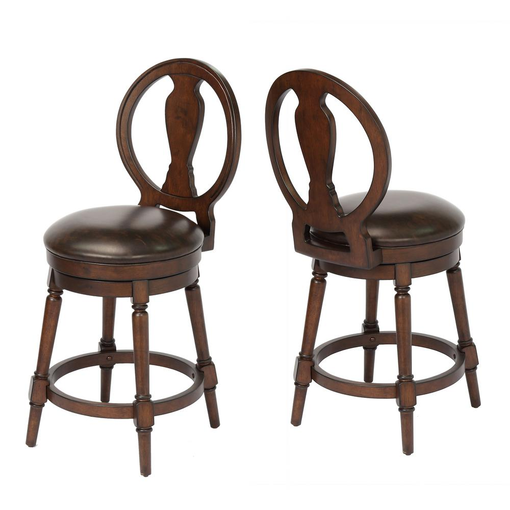 Craft Main Candace 24 In Walnut Counter Height Swivel Bar Stool