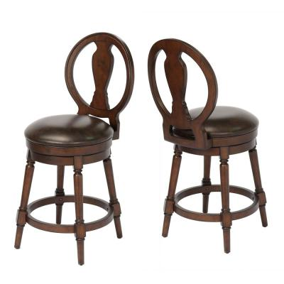 Candace 24 in. Walnut Counter Height Swivel Bar Stool (Individual)