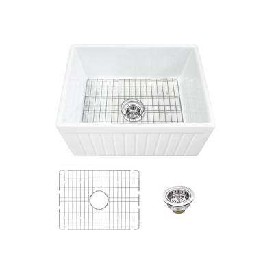 Farmhouse Apron Front Fireclay 24 in. Fluted Single Bowl Kitchen Sink in White with Grid and Strainer