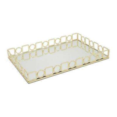 Gold Metal Tray with Mirror