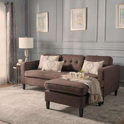 Wilder Mid-Century Modern 2-Piece Dark Brown Fabric Chaise Sectional