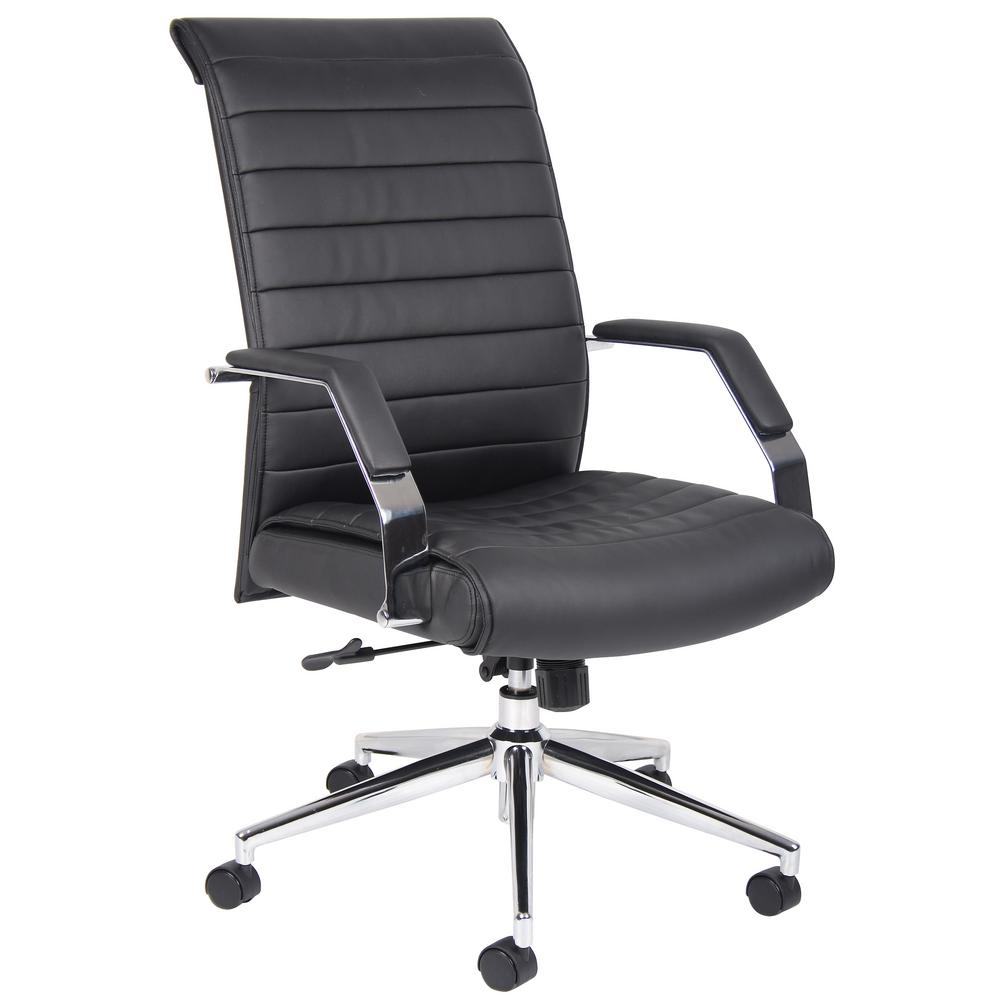 Black Executive High Back Ribbed Chair