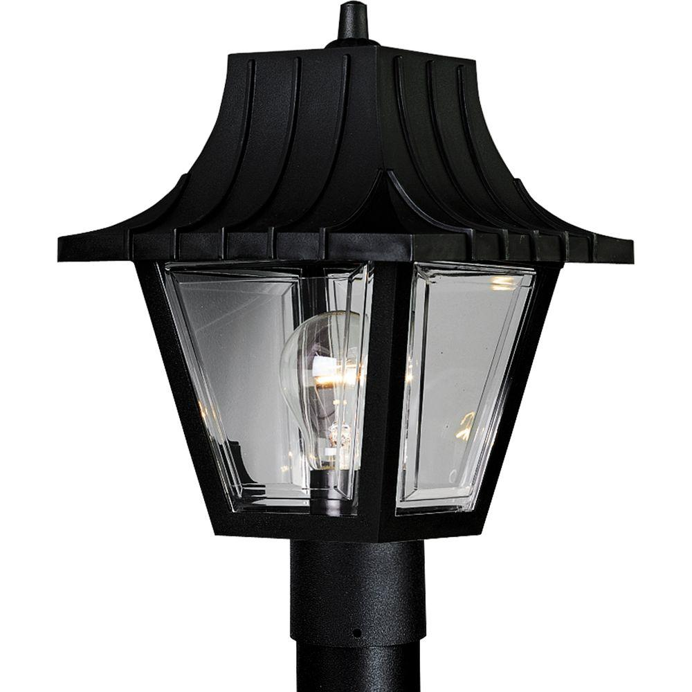 Progress Lighting Mansard Outdoor Textured Black Post Lantern