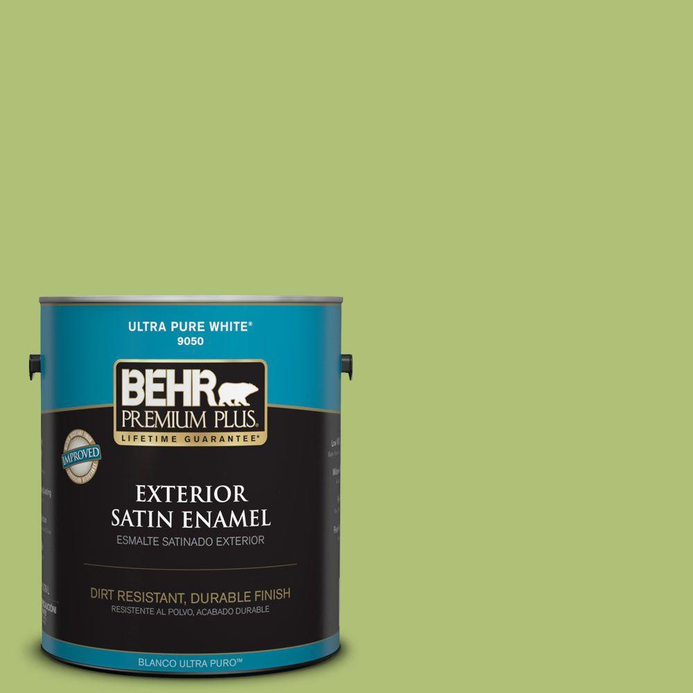 BEHR Premium Plus 1-gal. #HDC-SM14-5 Lavish Lime Satin Enamel Exterior Paint