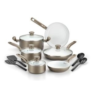 Click here to buy T-Fal Initiatives Ceramic 14-Piece Champagne Non-stick Cookware Set by T-Fal.