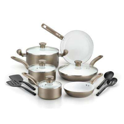 Initiatives Ceramic 14-Piece Champagne Non-stick Cookware Set