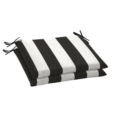 Striped Black Outdoor Seat Cushions