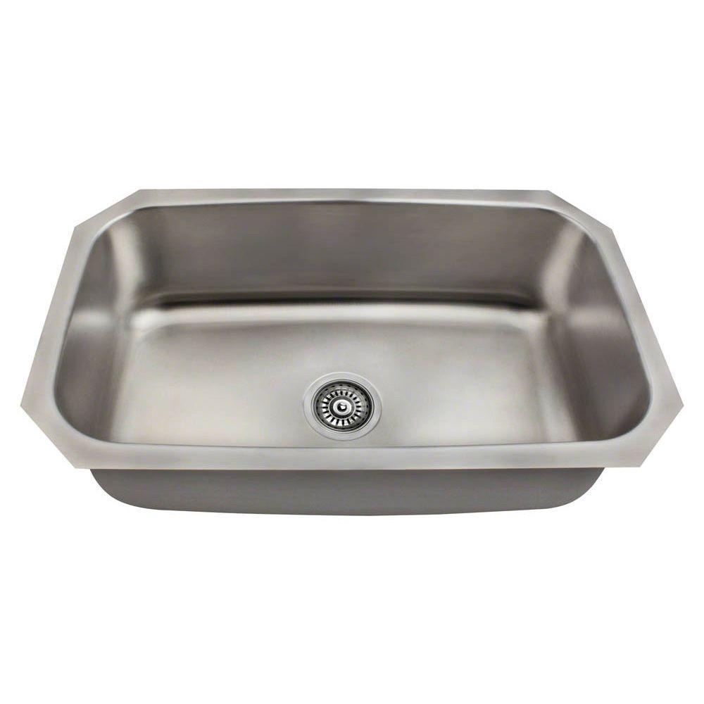Polaris Sinks Undermount Stainless Steel 31 In. Single Bowl Kitchen Sink