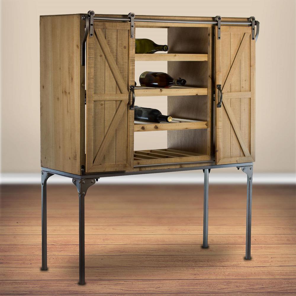 Rustic Wood Wine Rack Barn Door Glassware Cabinet