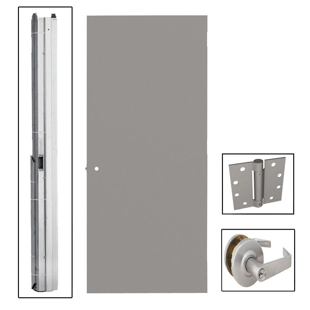 L.I.F Industries 30 in. x 80 in. Gray Left-Hand Flush Entrance Fire Proof Steel Commercial Door with Knockdown Frame