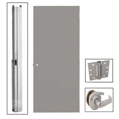 Gray Flush Steel Prehung Commercial Entrance Unit with Hardware