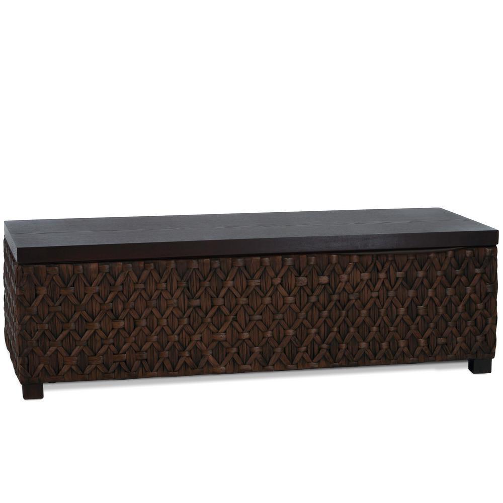 Rinaldi Dark Brown Wood and Rattan Storage Bench
