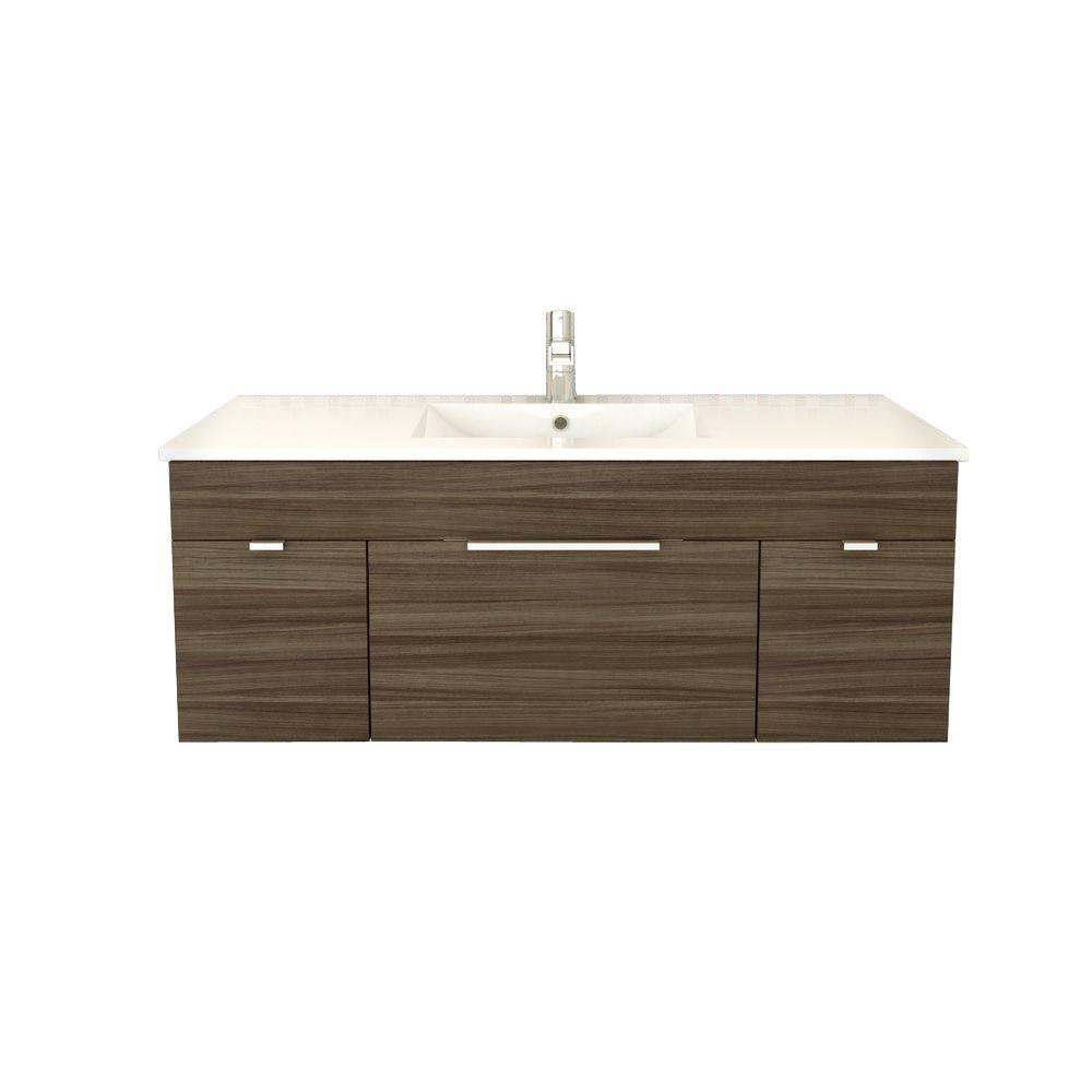 Cutler Kitchen and Bath Textures Collection 48 in. W Vanity in Driftwood with Acrylic Sink in White