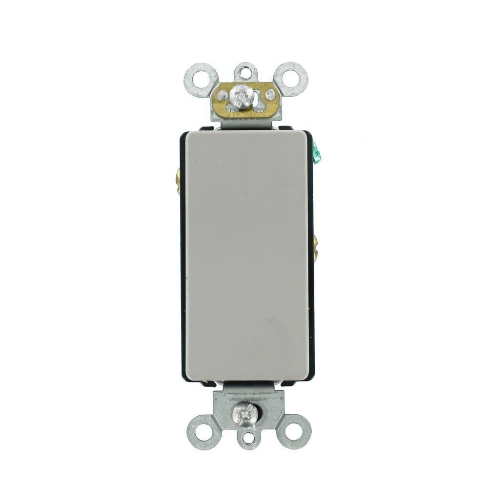 Decora Plus 20 Amp 120/277-Volt Antimicrobial Treated Plus Single-Pole Rocker Switch, Gray