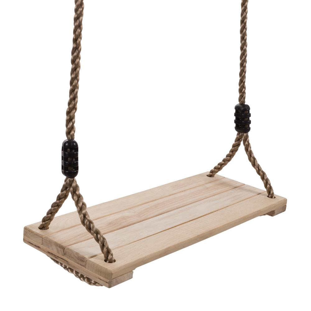 Hey! Play! Wooden Flat Bench Specialty Swing for Kids Playset