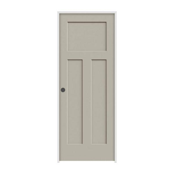 30 in. x 80 in. Craftsman Desert Sand Right-Hand Smooth Solid Core Molded Composite MDF Single Prehung Interior Door