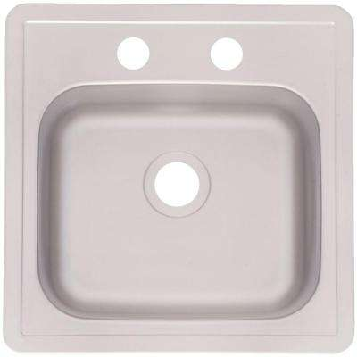 Drop-In Satin Stainless Steel 15 in. 2-Hole Bar Sink Silk deck and bowl