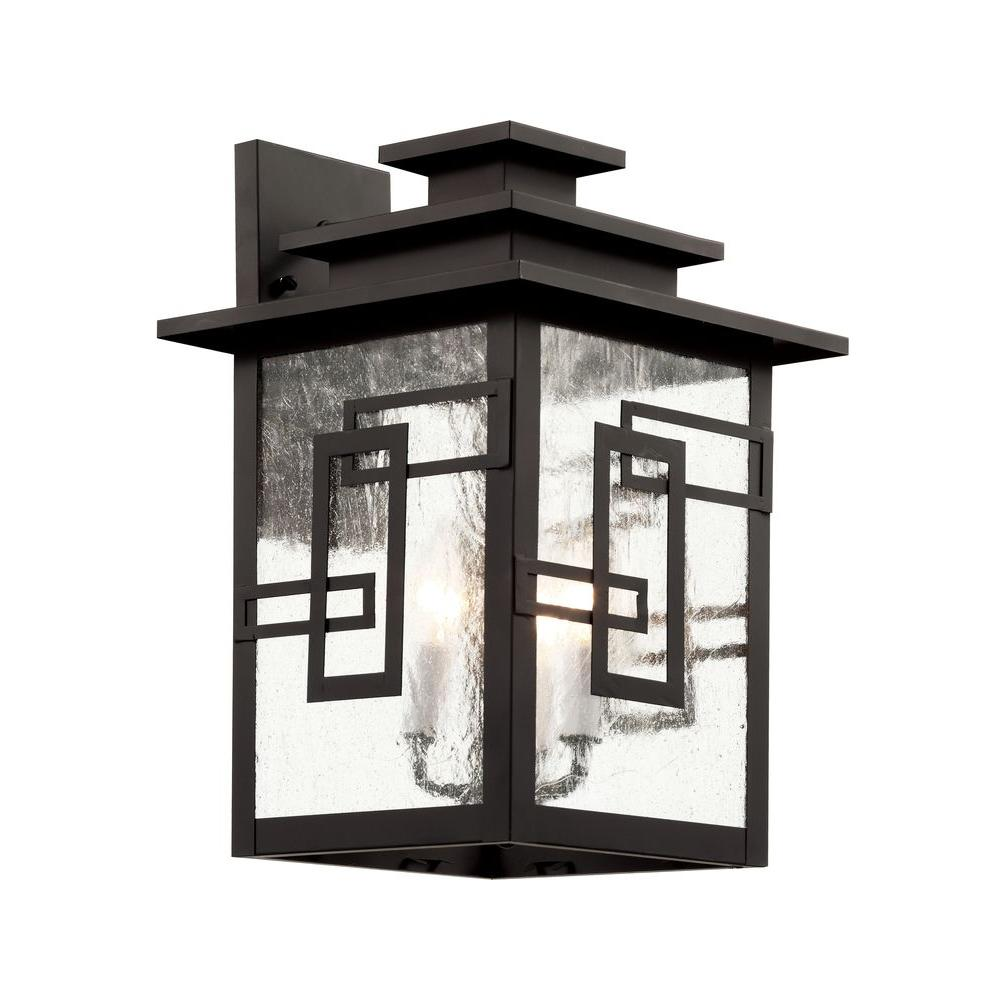 Bel Air Lighting 3-Light Weathered Bronze Wall Lantern with Seeded Window Frames
