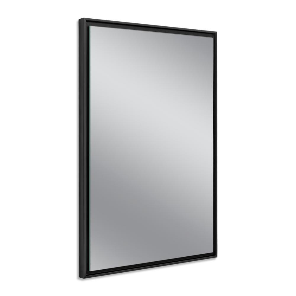26 in. W x 38 in. H Black Studio Float Wall Mirror