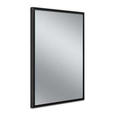 26 in. W x 38 in. H Black Studio Float Wall Mirror