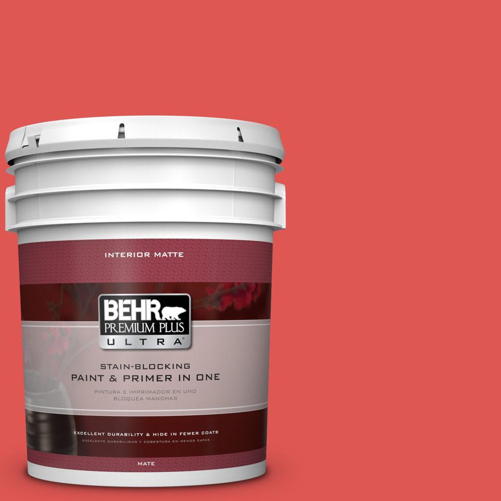 BEHR Premium Plus Ultra 5 gal. #170B-6 Lipstick Flat/Matte Interior Paint