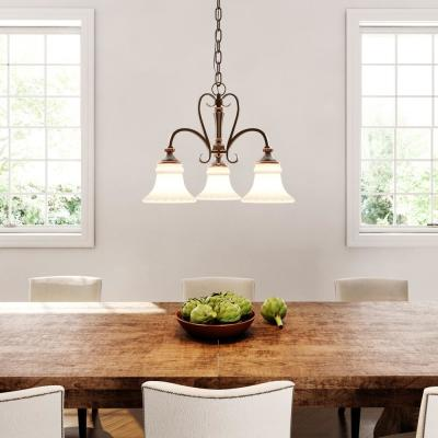 Reims 3-Light Berre Walnut Mini Chandelier with Driftwood Glass Shades