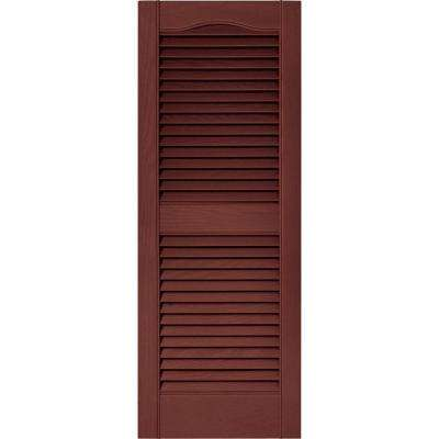 15 in. x 39 in. Louvered Vinyl Exterior Shutters Pair in #027 Burgundy Red