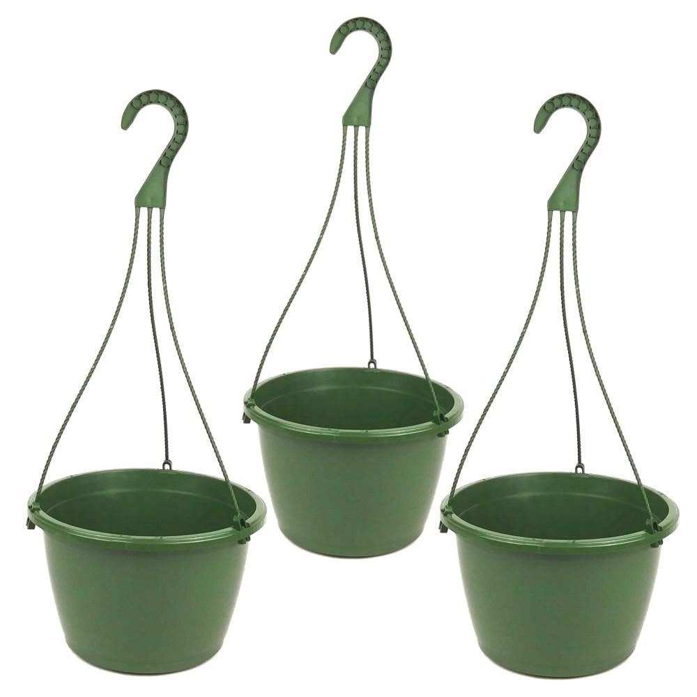 Plastic Hanging Baskets For Plants: TEKU 10 In. Plastic Hanging Basket Green (Box Of 3