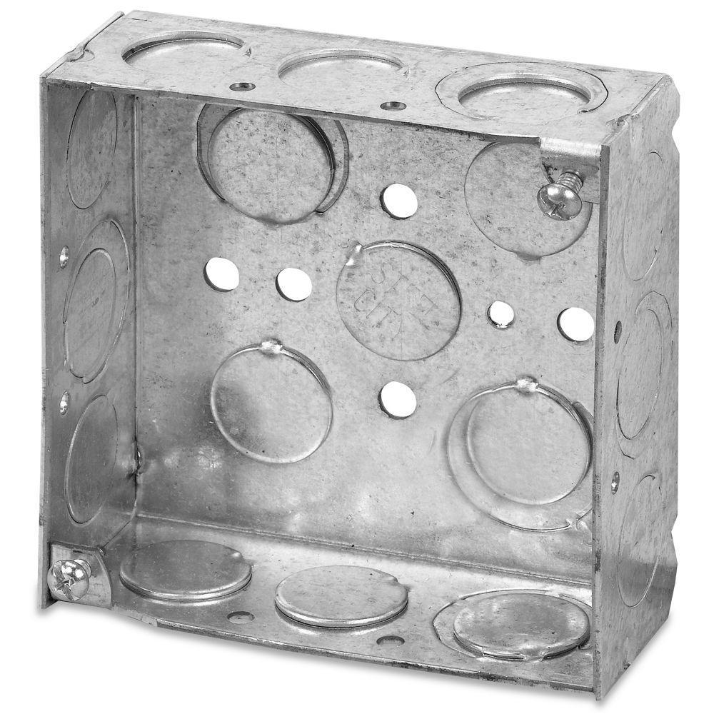 4 in. Pre-Galvanized Steel Square Box (Case of 50)