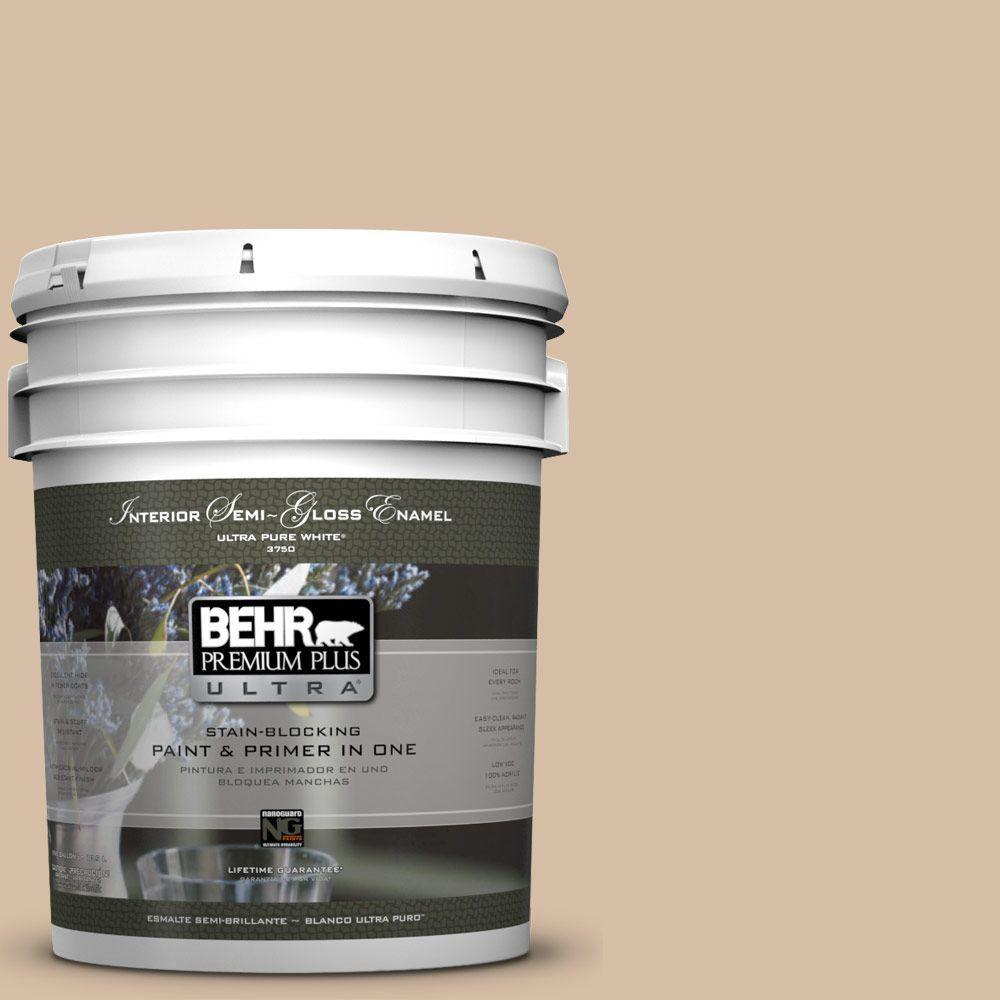 5 gal. #HDC-SM14-3 Concept Beige Semi-Gloss Enamel Interior Paint