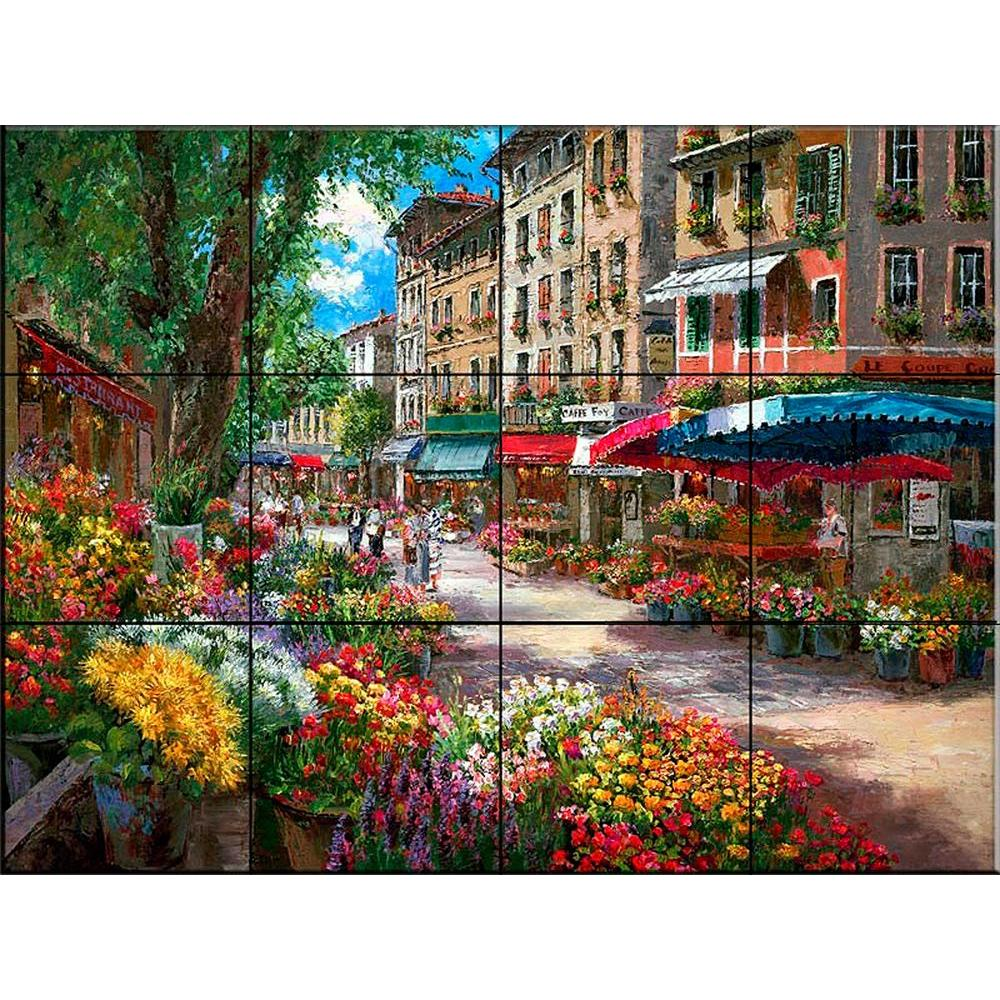 Paris Flower Market 24 in. x 18 in. Ceramic Mural Wall