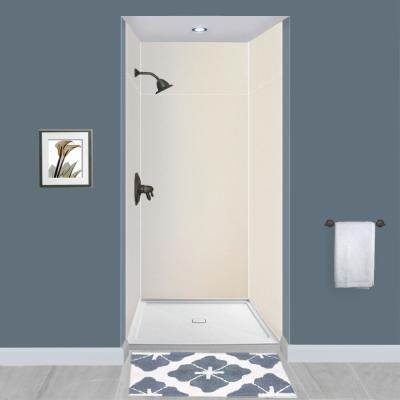 Expressions 48 in. x 48 in. x 96 in. 4-Piece Easy Up Adhesive Alcove Shower Wall Surround in Cameo