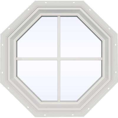 23.5 in. x 23.5 in. V-2500 Series Fixed Octagon Geometric Vinyl Window with Grids in White