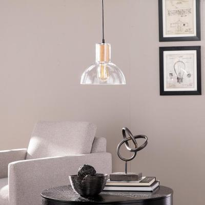 Jorma 1-Light Natural Wood Finish with Clear Glass Shade Pendant Lamp