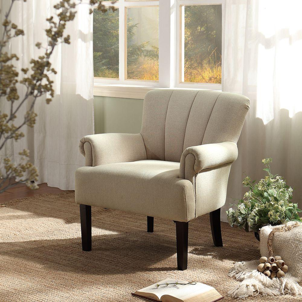 HomeSullivan Allaire Oatmeal Linen Arm Chair