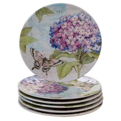 Hydrangea Garden 6-Piece Traditional Multi-colored Melamine Outdoor 9 in. Salad/Dessert Plate Set (Service for 6)