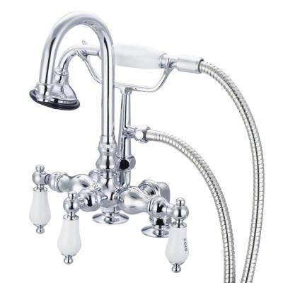 3-Handle Claw Foot Tub Faucet with Labeled Porcelain Lever Handles and Handshower in Triple Plated Chrome