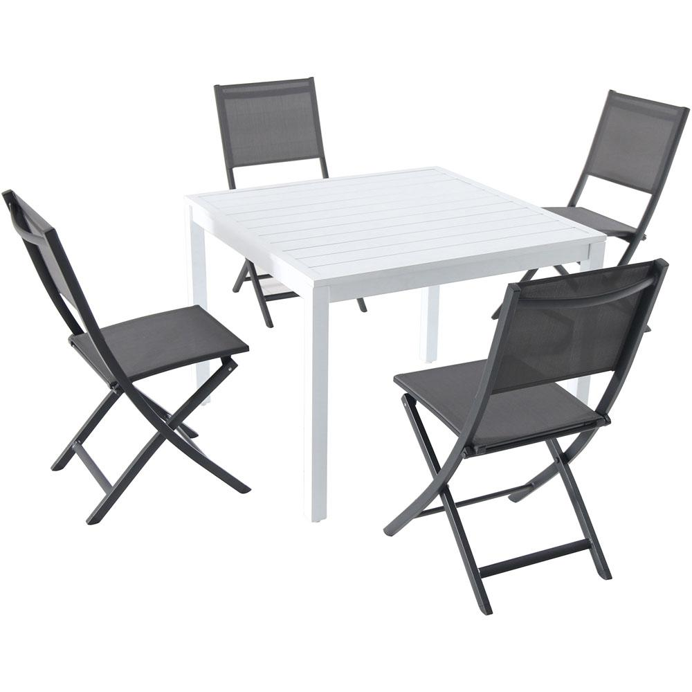 Beau Hanover Del Mar 5 Piece Aluminum Outdoor Dining Set With 4 Sling Folding  Chairs