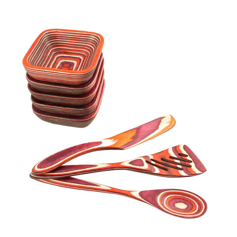 Island Bamboo Pakka 8-Piece Red Square Pinch Bowl Set