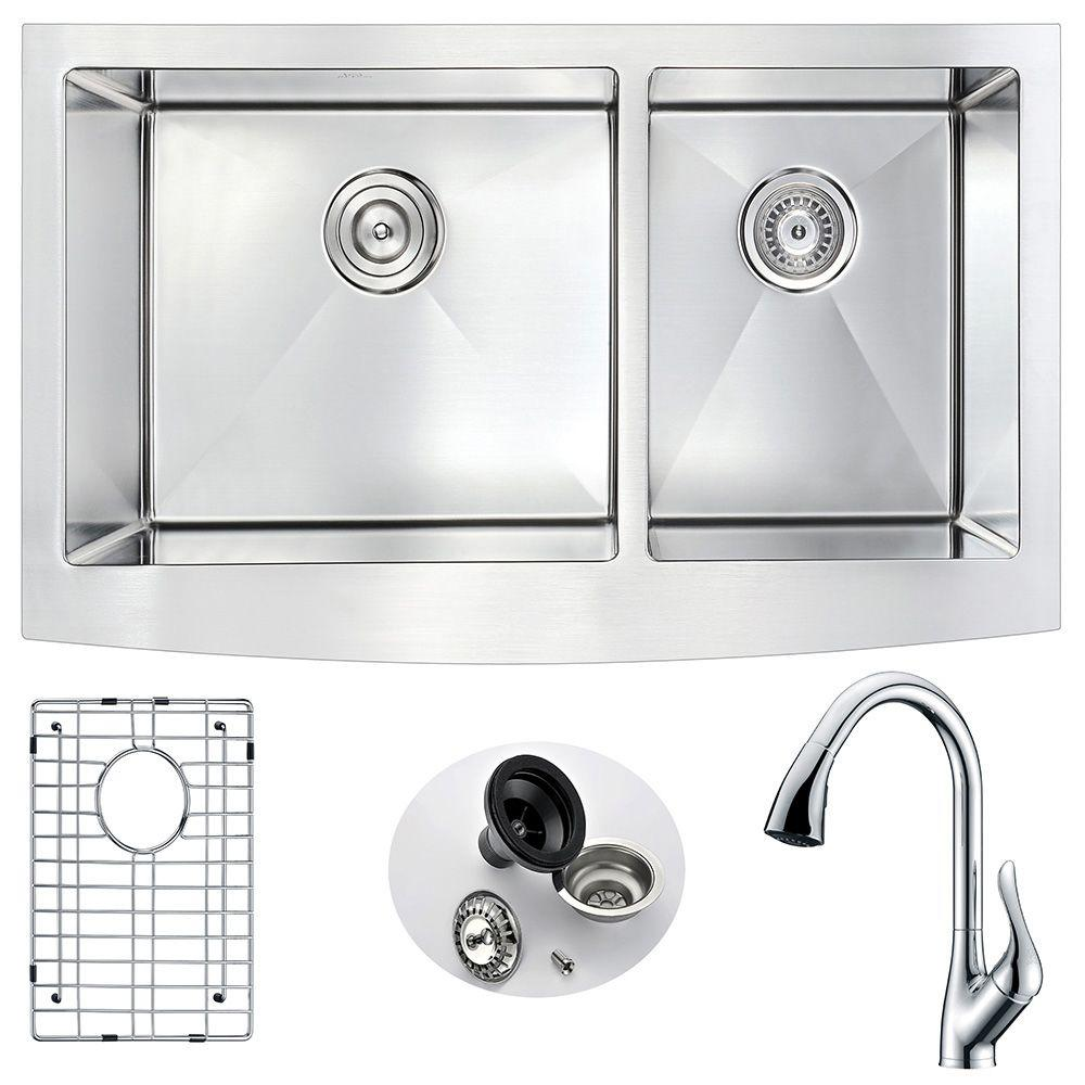 ANZZI ELYSIAN Farmhouse Stainless Steel 36 in. Double Bowl Kitchen ...