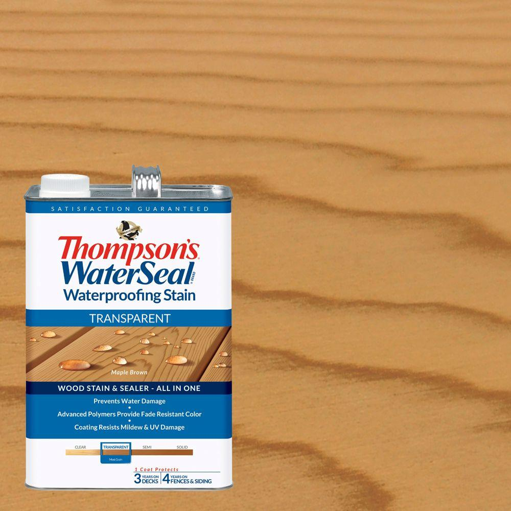 Thompson's WaterSeal 1 gal. Transparent Maple Brown Waterproofing Stain Exterior Wood