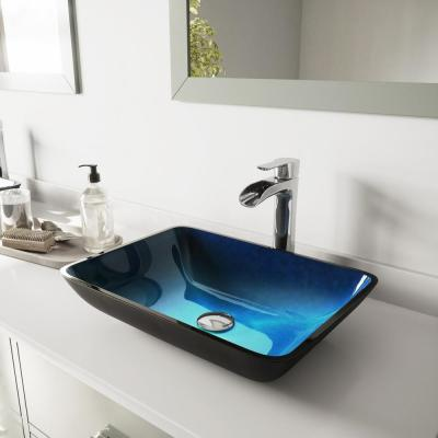 Glass Rectangular Vessel Bathroom Sink in Turquoise Blue with Niko Faucet and Pop-Up Drain in Chrome