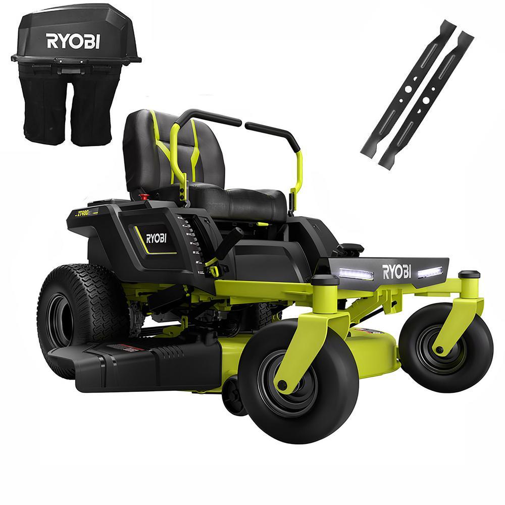 RYOBI 42 in. 100 Ah Battery Electric Riding Zero Turn Mower and Bagging Kit