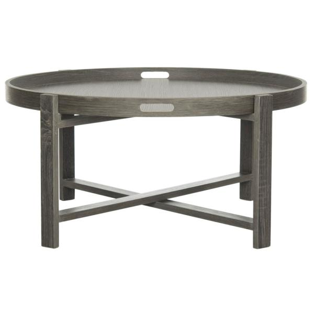 Cursten 33 in. Dark Gray Medium Round Wood Coffee Table