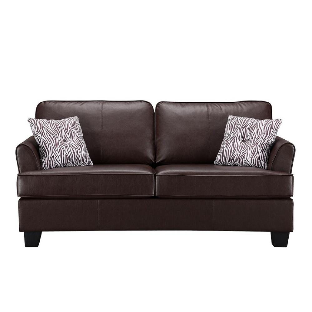 Signature home gracie brown faux leather hide a bed sofa sleeper full size