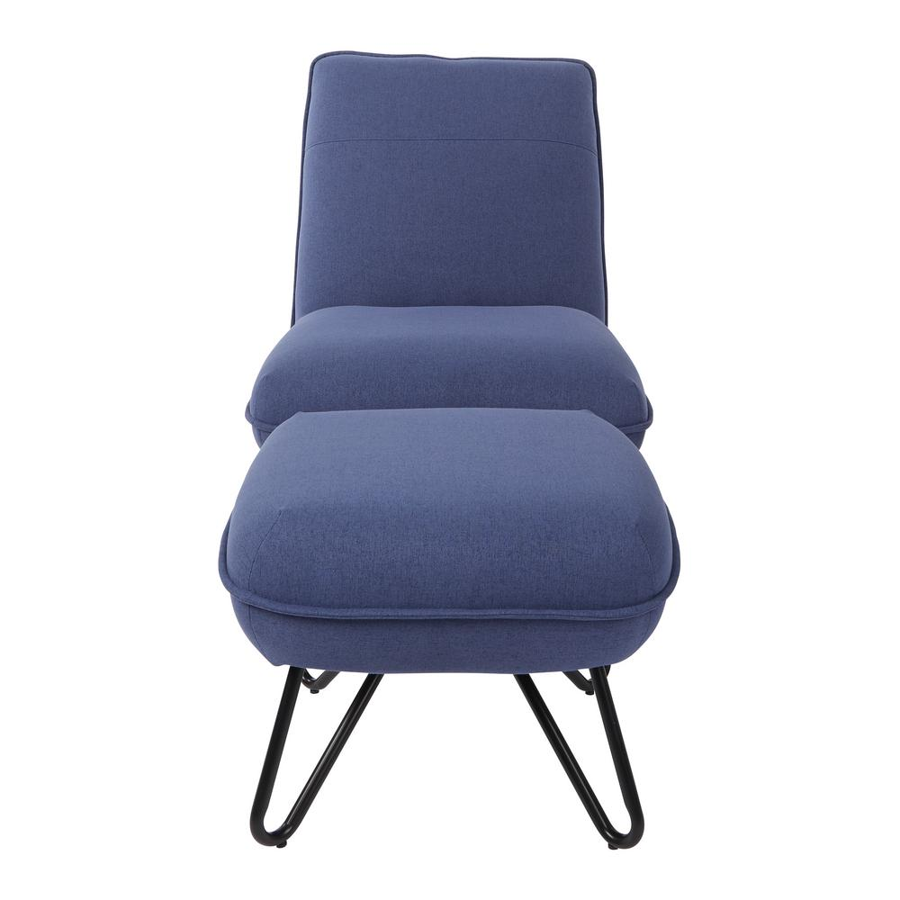 OSP Home Furnishings Cortina Navy Chair and Ottoman with Black Legs, Blue A chair and ottoman combo for padded leisure on the homestead. Padded with a smooth fabric supported by metal hair pin legs. Simple at its core but rich in the benefits it provides. Don't miss out on the Cortina Chair and Ottoman from OSP Home Furnishings for a truly soothing experience. Color: Navy.