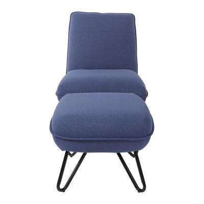 Cortina Navy Chair and Ottoman with Black Legs